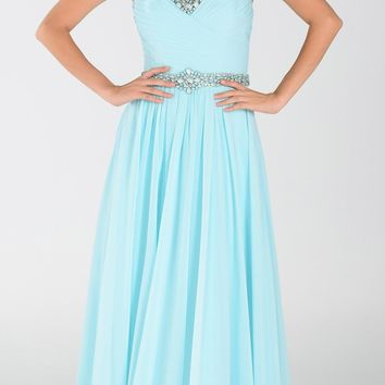 ON SPECIAL LIMITED STOCK - Poly USA 7408 Long Flowy Chiffon A Line Prom Dress Sea Glass
