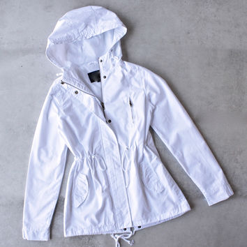 womens hooded utility parka jacket with drawstring waist - white