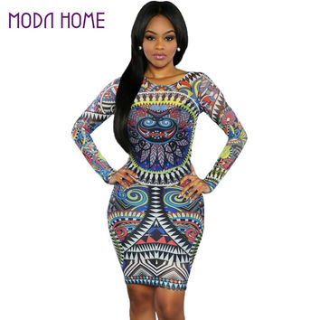 Sexy Club Bodycon Dress Mesh Ethnic Print Long Sleeve Celebrity Bandage Party Dresses Women Clothing SM6