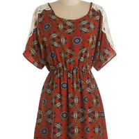 ModCloth Short Length Short Sleeves Travelogue Cabin Dress