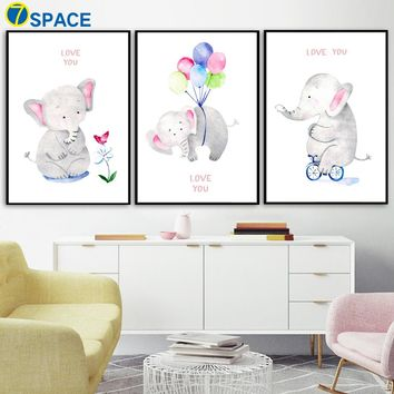 Cartoon Elephant Balloon Nordic Posters And Prints Wall Art Canvas Painting Watercolor Animal Wall Pictures Kids Room Home Decor