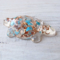 Crystal Turquoise Copper Resin Turtle Orgonite Orgone