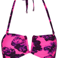 **Pink Neon Floral Bandeau Bikini Top by Jaded London - New In