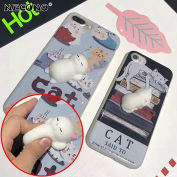NECONO Squeeze Stress Cat Reliever For iPhone X 8 8Plus Lovely 3D Animals Seal Sea Lion Soft Phone Cases For iphone 6 6s 7 Plus