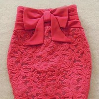 Fold the waist bowknot embroidered skirts from Fanewant