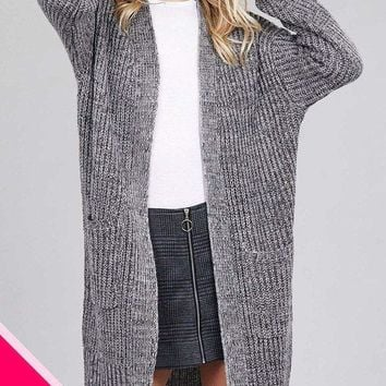 Ladies fashion plus size dolmen sleeve open front w/patch pocket marled sweater cardigan