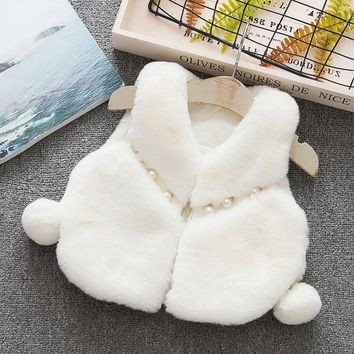 Winter fall girl baby clothes faux fur vest outerwear for newborns babies clothing