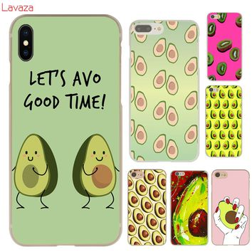 Lavaza Cute Avocado Food Pattern Hard Phone Case for Apple iPhone X 10 8 7 6 6s Plus 5 5S SE 5C 4 4S Cover Coque Shell