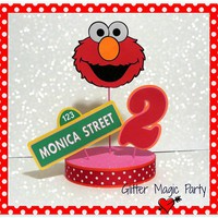 Elmo Centerpiece Personalized Name and Age - Sesame Street