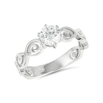 Sterling Silver Round CZ Swirl Band Promise Ring