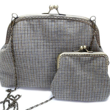 Set of Clutch Purse and Coin Purse - Vintage Style - Evening Handbag - Woven Fabric - Antique Bronze Frame and Chain.