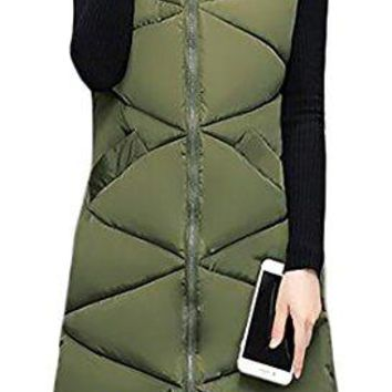 Pandapang Women's Casual Zip Front Hooded Solid Winter Cotton Puffer Vest