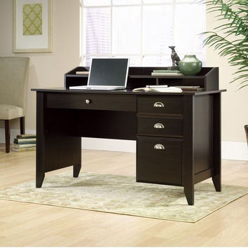 Dark Wood Tone Writing Desk with Hanging File Drawer
