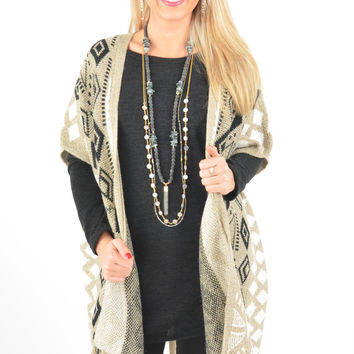 Short Sleeve Beige Cardigan with Tribal Pattern and Tassel Fringe Hem