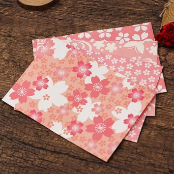 Love season fresh and beautiful romantic pink cherry stationery cards greeting card paper envelope stationery school supplies