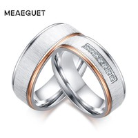 Meaeguet Silver Color Wedding Rings Cubic Zirconia Love Promise Couples Rings Set Stainless Steel Alliance Wedding Band