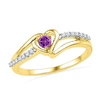 10kt Yellow Gold Womens Lab-Created Amethyst Heart Love Ring 1/5 Cttw