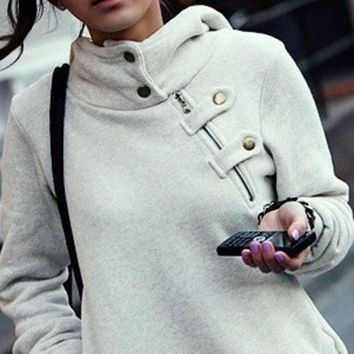 DCCKOB6D Leisure Solid Color Hooded Buttons High Collar Hoodie Jacket Coat
