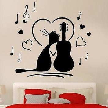 Wall Sticker Cat Music love Notes Animal Dance Dancing Cool Pop Art Unique Gift (z2607)