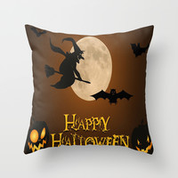 HAPPY HALLOWEEN Throw Pillow by Acus