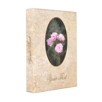Vintage design. Photo of pink roses. Add your text Mini Binder