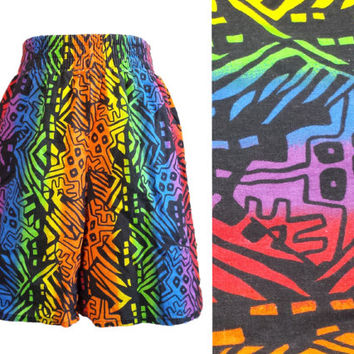 Vintage 90s Neon Rainbow Shorts, Abstract Geometric Pattern, Tribal Aztec Print, 80s Summer, High Waist Shorts, Hipster, Retro, Raver