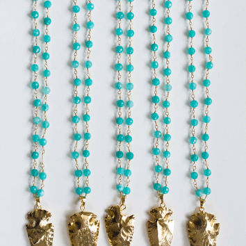 "The ""Abby"" Gold Arrowhead on Teal Beaded Chain"
