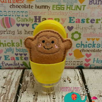 Tiny stuffed monkey egg buddy, embroidered, party favor, stuffed animal, stuffie, travel toy, stuffed toy, embroidery, grab bag, easter