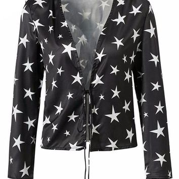 Star Print Open Long Sleeve Crop Top