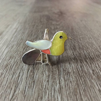 Vintage Gemstone Yellow Bird Ring in 925 Sterling Silver, Handcrafted Southwestern Jewelry, US Size 8