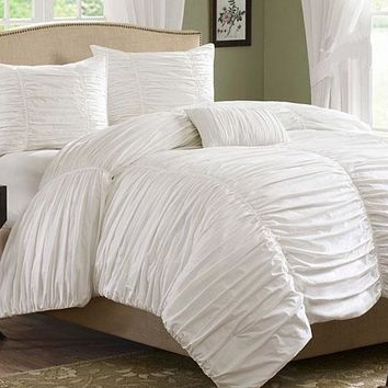 Pure White Lace Princess Style Cotton Luxury 4-Piece Bedding Sets/Duvet Cover