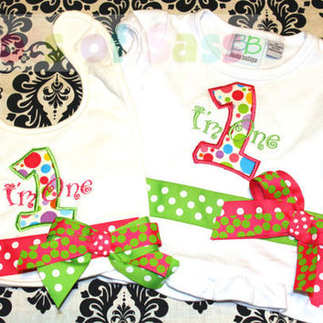 Girls First Birthday Shirt and Bib Set with pink and Green Ribbon and Bows