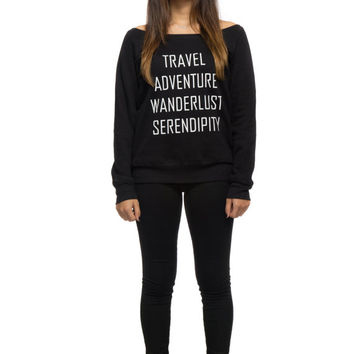 Travel Adventure Wanderlust Serendipity ®  Slouchy Off Shoulder Sweater Ski Sweater