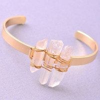 Triple Crystal Mineral Bangle - Gold/Clear
