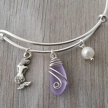 "Handmade in Hawaii, wire wrapped ""Magical Color Changing"" Purple sea glass bracelet, Sea glass jewelry, Mermaid"