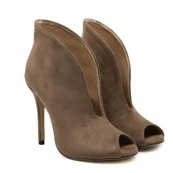 Ankle Boots Peep Toe High Heels Suede Boots Sandals