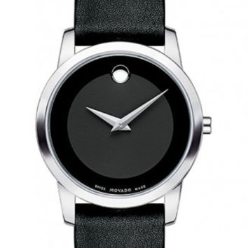 Movado Museum Classic Ladies Black Calf Skin Band Stainless Steel Case Black Museum Dial 28mm Watch 0606503