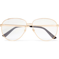 Gucci - Aviator-Style Enamelled Gold-Tone Optical Glasses