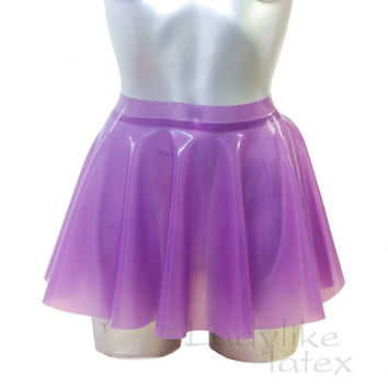 Full Circle Skater Skirt in Translucent Latex Rubber