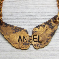 Angel Wings Personalized Name Necklace, Antiqued Brass, Hand Stamped Jewelry