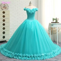YQLNNE Debutante Off the Shoulder Quinceanera Gowns Dresses Ball Gown Flowers Tulle Lace-up Sweet 16 Dress Vestidos De 15 Anos