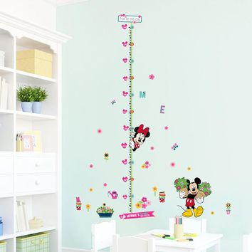 minnie mickey growth chart wall stickers for kids room decoration cartoon mural art home decals children gift height measure