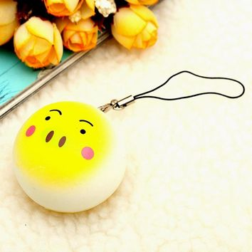 30PCS Random Kawaii Squishy Toast Bread Cell Phone Charm Strap