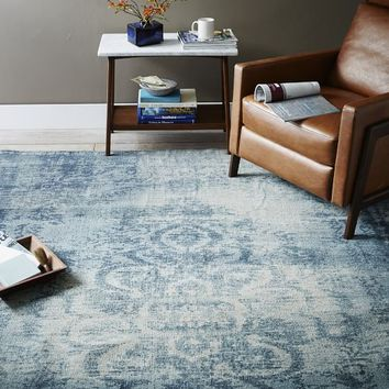 Distressed Arabesque Wool Rug - Midnight