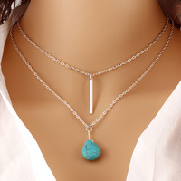 Fashion Bohemia Turquoise Double Chain Heart Pendant Necklace Punk Classic Summer Body Chain Necklaces Jewelry Women