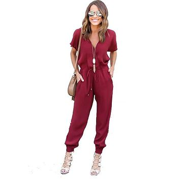 Sexy V Neck Pleated Waist Pocket Rompers Womens Jumpsuit Plus Size Loose Cross Overalls Black Red Short Sleeve Playsuit