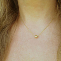 Single Mini Ball Necklace / Tiny Gold Dot Necklace / Tiny Gold Bead / Gold Round Charm / Minimal Jewelry / Layered Necklace / N143