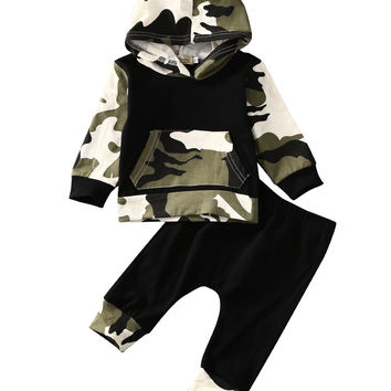 2pcs!! Autumn Spring Infant Clothes Baby Clothing Sets Baby Boys Camouflage Camo Hoodie Tops Long Pants 2Pcs Outfits Set Clothes