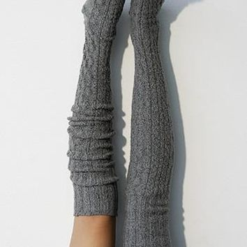 Thigh High Socks, Charcoal Grey Sweater Socks, Women's Long Over the Knee Socks, Knitted Boot Socks, OTK Thigh Highs, Stockings, PM-088C