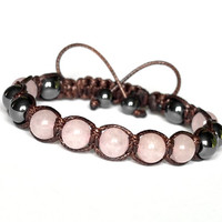 Handmade Shamballa Bracelet, Natural Stones, Rose Quartz Hematite, Brown and Pink Adjustable Bracelet